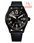 Citizen Eco Drive BM6835-23E Date Analog Stainless Steel Black Leather Strap