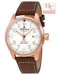 ALPINA AL-525S4S4 Startimer Pilot White Dial Rose Gold Case Automatic Men's Brown Leather Watch