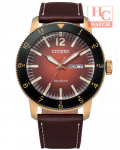 Citizen ECO-DRIVE AW0079-13X Vintage Throwback Rose Gold Leather Strap Watch