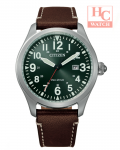 Citizen Eco Drive BM6838-25X Green Analog 24 Hours Brown Leather Strap