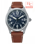 Citizen Eco Drive BM6838-33L Blue Analog 24 Hours Indicator Brown Leather Watch