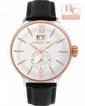 NEW CERRUTI 1881 CRA27303 WHITE DIAL BLACK LEATHER STRAP ANALOG MEN'S WATCH