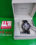 NEW NEW CERUTTI 1881 CHRONOGRAPH BLACK SILICONE STRAP CRA29608 ANALOG MEN'S WATC