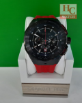 NEW CERRUTI 1881 CRA30003 RED SILICONE STRAP CHRONOGRAPH ANALOG MEN'S WATCH