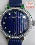NEW CERRUTI 1881 CRM28207 BLUE LEATHER STRAP ANALOG LADIES WATCH