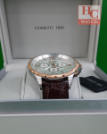 NEW CERRUTI 1881 MEN CHRONOGRAPH CTCRA20201-I BROWN LEATHER STRAP ANALOG WATCH