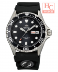 NEW ORIENT FAA02007B RAY II BLACK SILICONE STRAP ANALOG MEN'S WATCH