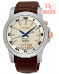SEIKO Premier SNQ150P1 Kinetic Perpetual Sapphire White Dial Brown Leather